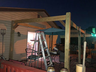 Built 18ft structure to support a sun top roof
