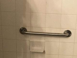 Handicap Support Bar Mounted Through Tile